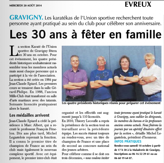 Article presse karate du 20 aout 2014